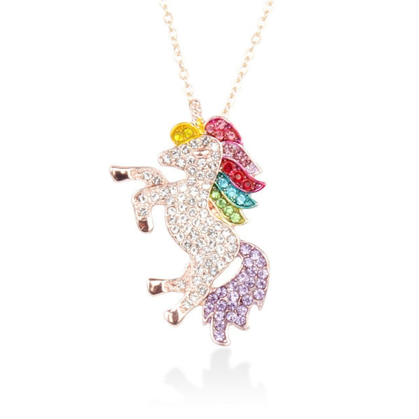 Cute Unicorn Necklace Fashion Cartoon Horse Jewelry Accessories For Girls Children Kids Women Party Animal Pendant Bracelet Set - Not Bad Gifts