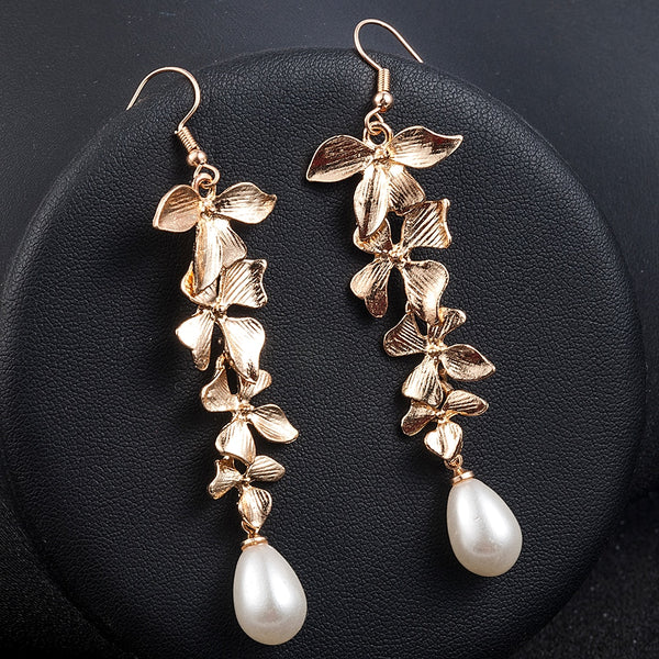 Lady's Gold Orchid Flower Jewelry Long Dangle Hook Earrings - Not Bad Gifts