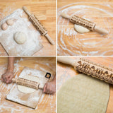 35*5cm Christmas Embossing Rolling Pin Baking Cookies Biscuit Fondant Cake Dough Engraved Wooden Roller - Not Bad Gifts