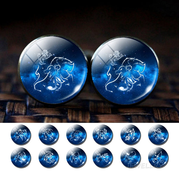 12 Constellations Glass Alloy Cufflinks Zodiac Signs Silver Suit Cuff Links Men Shirt Accessories Destiny Jewelry Birthday Gift - Not Bad Gifts