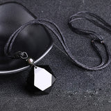 Black Obsidian Hexagram Necklace Pendant Lucky Love Natural Stone Women Men Couple Necklace Jewelry - Not Bad Gifts