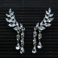 Angel Wings Stud Earrings Rhinestone for Women - Inlaid Alloy Ear Jewelry Party Earring Gothic Feather Fashion - Not Bad Gifts