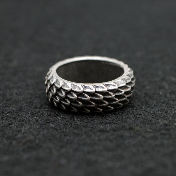 1pcs Viking Dragon Scale Ring - Jewelry Unique for Women or Men Size 8 / 10 Antique Silver Appearance - Not Bad Gifts