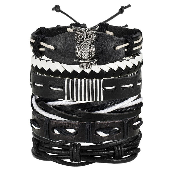 Vintage Leaf Feather Multilayer Leather Bracelet Men Fashion Braided Handmade Star Rope Wrap Bracelets & Bangles - Not Bad Gifts