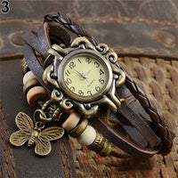 Women Casual Vintage Multilayer Butterfly Faux Leather Bracelet Ladies Wrist Watch - Not Bad Gifts