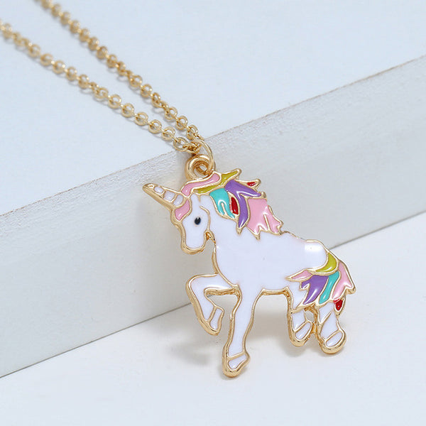 Unicorn Necklace Enamel Cartoon Horse Necklace for Girls Children Kids Animal Jewelry Accessories - Not Bad Gifts
