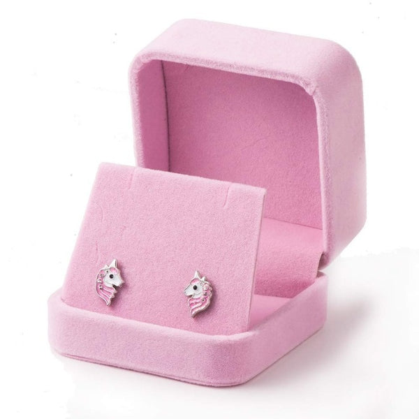 Pink Unicorn Stud Earrings with Glitter Enamel for Women and Girls - Not Bad Gifts