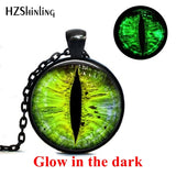Green Dragon Eyes Glowing Jewelry Pendants Color Dragon Eye Pendant Art Photo Glass Cabochon Necklace Vintage - Not Bad Gifts
