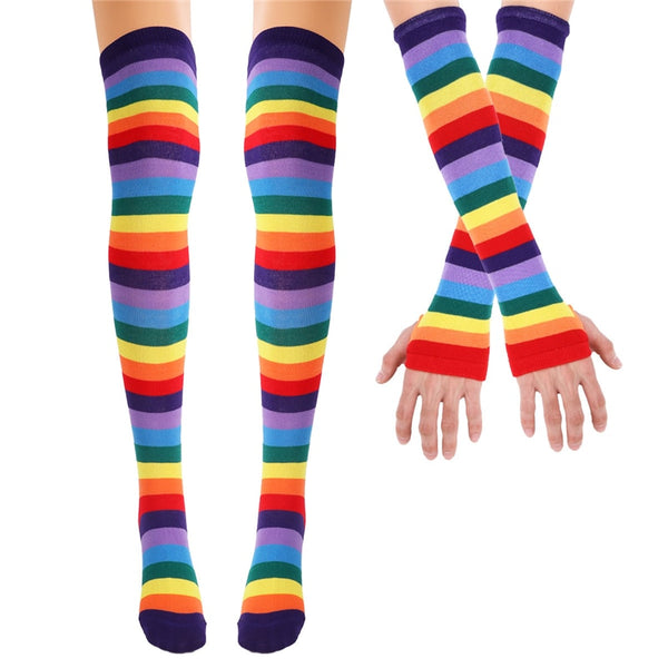 Colorful Rainbow stockings Striped High Thigh Knee Socks Arm Warmer Gloves Halloween Costume Party Cosplay Holiday Gift - Not Bad Gifts