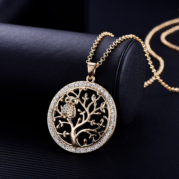 Small Owl Necklace Tree Of Life Pendant Rose Gold Women Sweater Chain Crystal Long Necklaces & Pendants Statement Jewelry - Not Bad Gifts