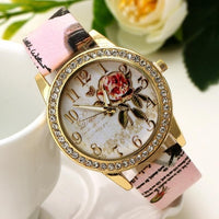 Fashion Watch with Rose Flower Pattern for Women - Not Bad Gifts