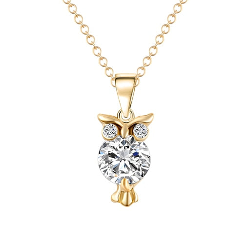 Zircon Pendants Owl Necklace For Women Crystal Heart Gold Sliver Color Long Necklaces Fashion Jewelry Christmas Gift - Not Bad Gifts
