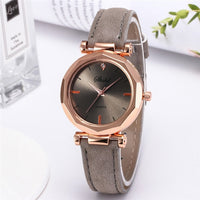 Women's Leather Casual Watch Luxury Analog Quartz Crystal Wristwatch Fashion - Not Bad Gifts
