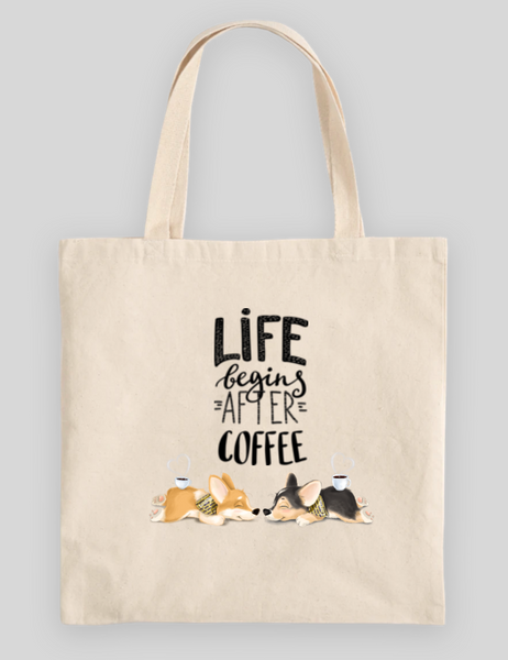 Life Begins After Coffee 100% Cotton Canvas Tote