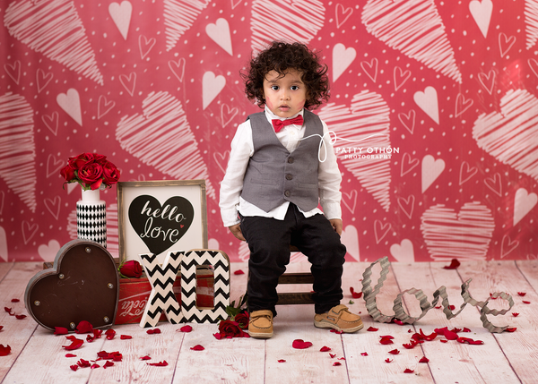 Valentine's Day Photography Backdrop Background Doodle Hearts