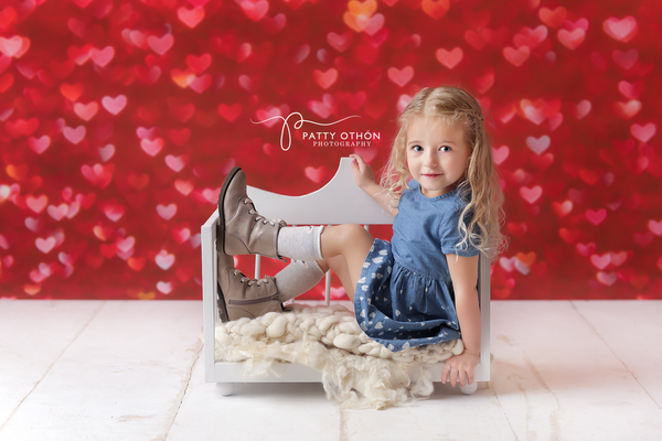 Valentine's Day Photography Background Photo Props Red Bokeh Hearts