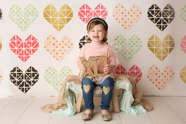 Geometric Hearts Photography Backdrop Photo Props