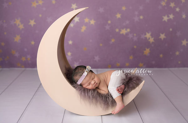 Purple Gold Stars Newborn Photography Backdrop and Photo Props