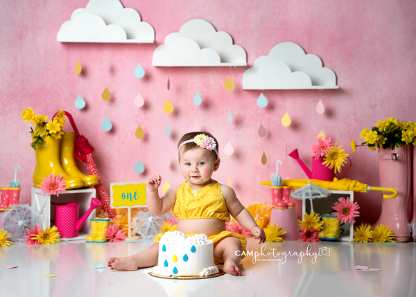 spring photography backdrops baby photo props clouds rain April showers