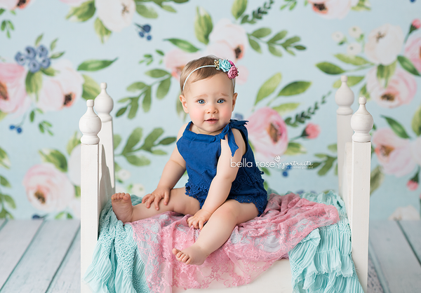 Painted Floral Photography Backdrop Girls Photo Props