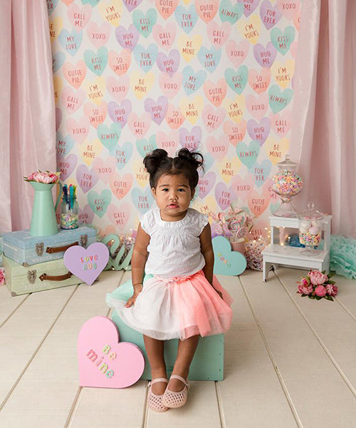 Candy Hearts Valentine's Day photography backdrop