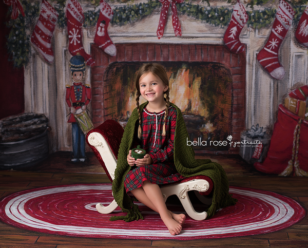 Christmas Fireplace Photography Backdrop Background
