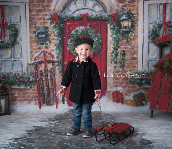 Red Christmas door photography backdrop