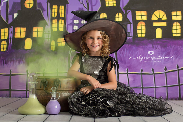 Halloween Themed Backdrop with Ghosts and Village