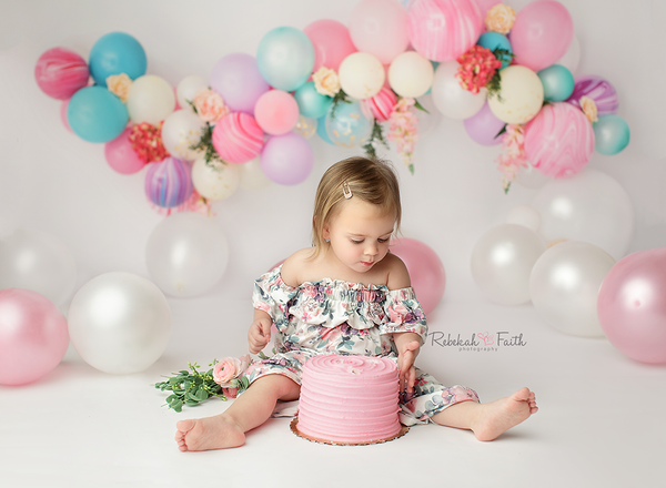 Blooms and Balloons Photography Backdrop Cake Smash Photo Background