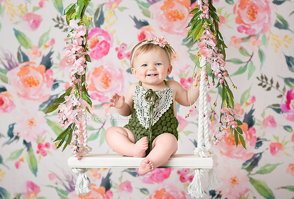 Painted Floral Photography Backdrop Background Girls Photo Props