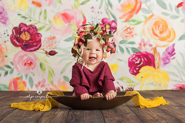 Painted floral photography backdrop background