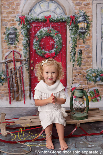 Red Christmas Door Photography Backdrop Background