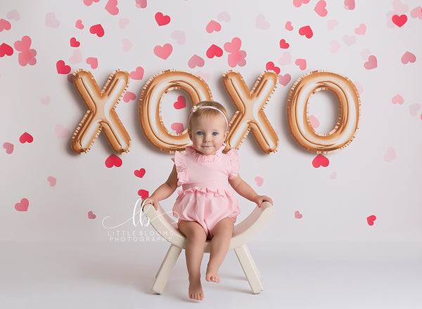 XOXO and Hearts Valentine Backdrop for Children