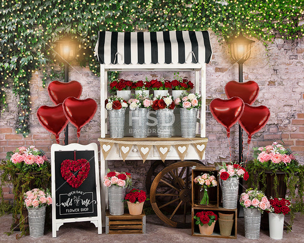 Flower Cart Valentine's Day Backdrop