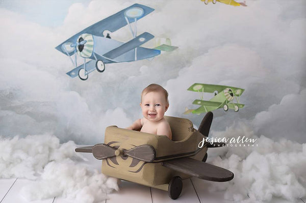 Vintage Airplanes Photography Backdrop for Boys