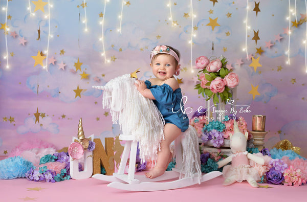 Unicorn Photography Backdrop Clouds Unicorn Photo Props Birthday