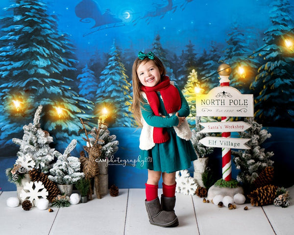 North Pole photo backdrop for Christmas portraits