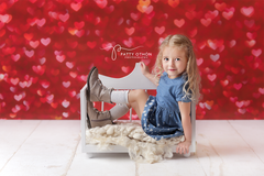 Valentine's Photography Backdrop | Red Bokeh Hearts