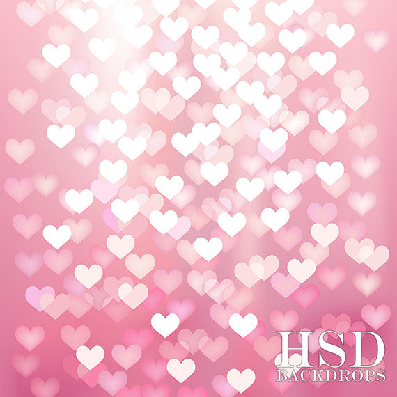 Pink Hearts Bokeh photography backdrop & background