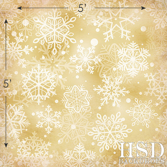 Holiday | Gold Snowflakes photography backdrop & background