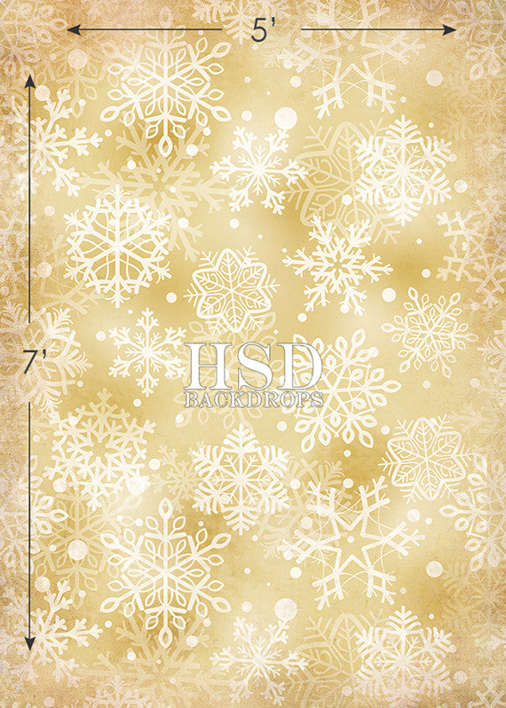 Holiday | Gold Snowflakes - HSD Photography Backdrops