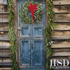 Christmas Photography Backdrop | Rustic Door
