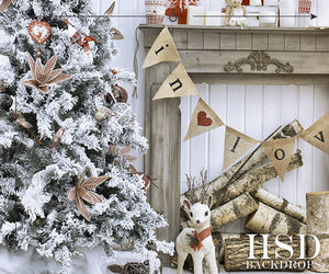Shabby Chic Christmas photography backdrop & background
