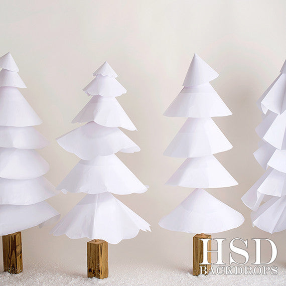 Christmas | White Paper Trees photography backdrop & background