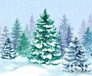Winter | Watercolor Winter photography backdrop & background