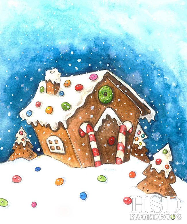 Christmas Gingerbread House Cartoon.Winter Photography Backgrounds Backdrops Christmas