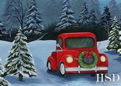 Winter Photography Backdrop | Red Christmas Truck