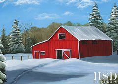 Photography Backdrop Background | Red Winter Barn