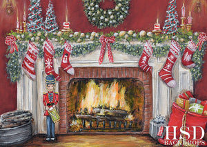 Christmas Fireplace photography backdrop & background