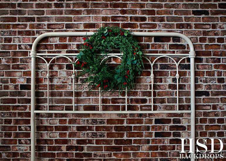 Christmas Photography Backdrop | Christmas Wreath Headboard - HSD Photography Backdrops